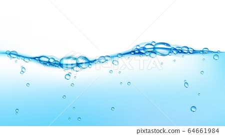 Vector blue clean water wave with air bubbles 64661984