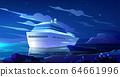 Cruise liner in ocean at night. Modern ship, boat 64661996