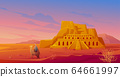 Egypt desert with Hatshepsut temple and camel 64661997