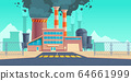 Factory building with black smoke from chimneys 64661999