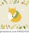 Bright floral card with cute fox in a scarf 64662458