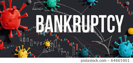 Bankruptcy theme with viruses and stock price charts 64665901