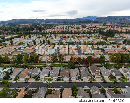 Aerial view of large-scale residential neighborhood, Irvine, California 64668204
