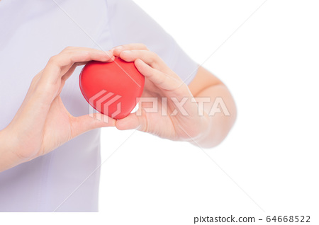 Stethoscope with heart in doctor hands isolated on white background, close-up, free from copy space, healthcare concept. 64668522
