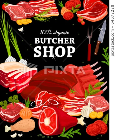 Butcher shop pork, beef and mutton meat poster 64672228