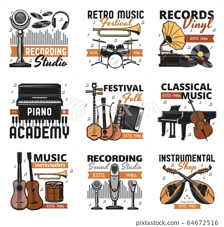 Retro music instruments, vinyl records shop icons 64672516