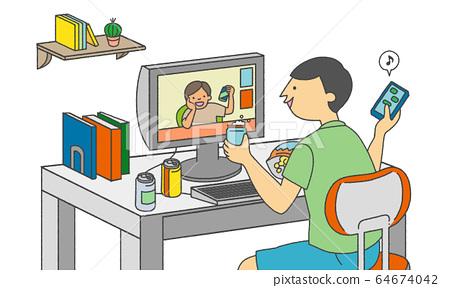 網上喝酒聚會的人的物質插圖 64674042