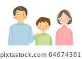 一個三口之家的插圖,帶著笑容的臉(無縫) 64674361