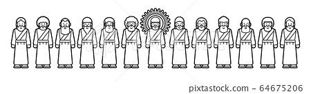 Jesus and twelve disciples cartoon graphic vector 64675206