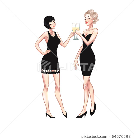 Two beautiful young women holding champagne 64676398