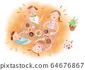 가족 식사 흐림 배경이있는 수채화 64676867