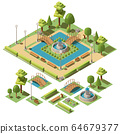 Isometric city park with design elements for garden landscape 64679377