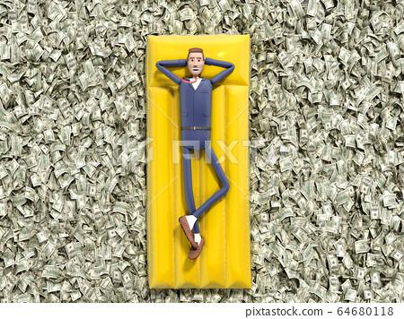cartoon businessman floating on an air mattress on 64680118