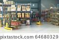 Hangar delivery warehouse 3d render image interior 64680329