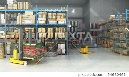 Hangar delivery warehouse 3d render image interior 64680461