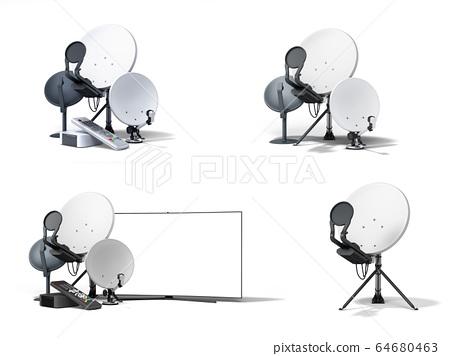 set satellite tv or internet concept different 64680463