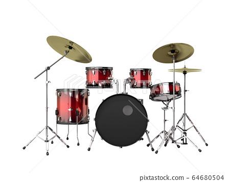 musical instrument drum set 3d render on a grey 64680504
