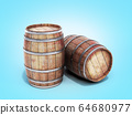 Wooden barrels isolated on blue gradient 64680977