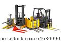 Different Forklift loaders 3D render on white 64680990