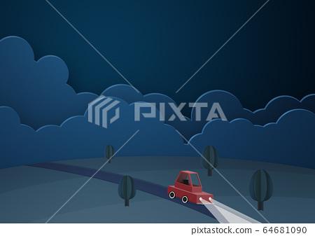 종이 공예 - 구름 - 밤 - 자동차 - 드라이브 64681090