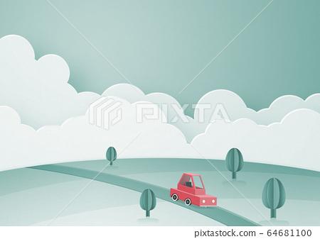 紙模型-天空-雲彩-汽車-地面 64681100