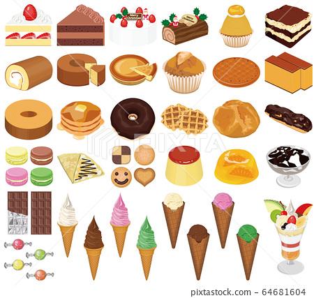 各種西方糖果(蛋糕,巧克力,冰淇淋,凍糕)的插圖 64681604