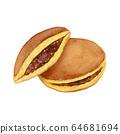 Dorayaki Japanese confectionery watercolor illustration 64681694