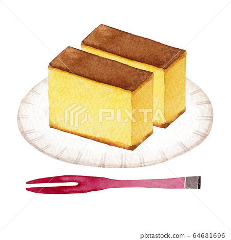 Castella Japanese sweets watercolor illustration 64681696
