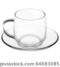 Glass mug with saucer. Clear coffee cup cappuccino 64683085