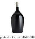 Red wine bottle. Dark glass shape illustration 64683088