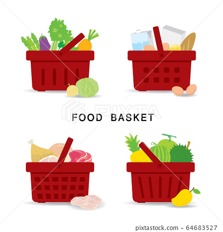 Set of shopping food baskets of organic and healthy food at Supermarket. Vegetable, Fruit, Fresh Meat and Dairy Product Food. Flat Icons Cartoon Vector illustration. 64683527