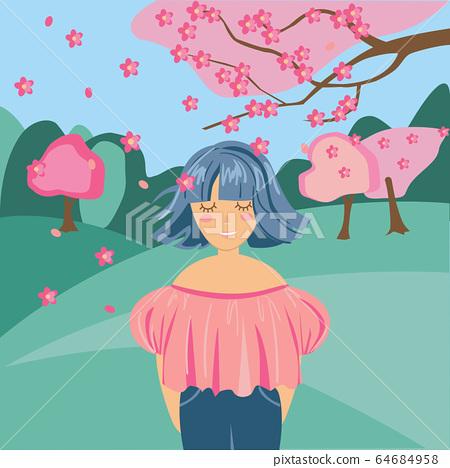 girl happiness spring flowering trees sakura 64684958
