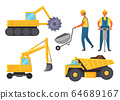 Mining Industry, Vehicles Like Lorry and Bulldozer 64689167