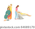 Spa Salon Hairdresser and Stylist Icons Set Vector 64689170