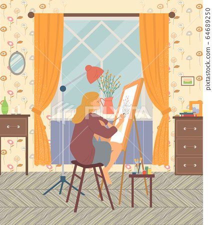 Woman Painter at Home Artist in Room House Vector 64689250