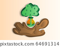 Concept environmental science vector illustration. Paper art style of splashing dirt with tree and green field in flask. 64691314