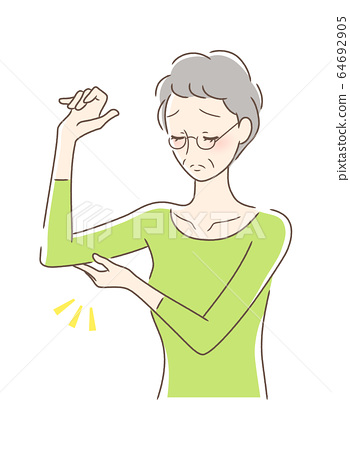 A woman touching his lower arm 64692905