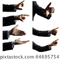 Pack from seven isolated objects Mans hand suit that is making different actions and gestures 64695754
