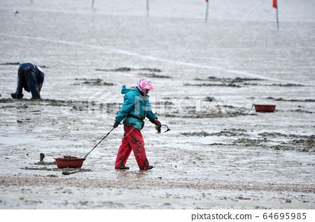 在潮灘工作的韓國婦女 64695985