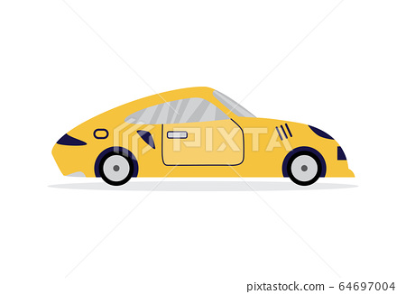 Yellow sport car from side view - fast speed vehicle 64697004
