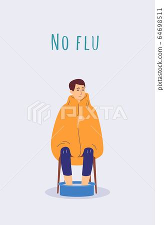 Nu flu poster with sick man with virus soaking feet in warm water 64698511