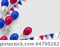 Glossy balloons in colors of American flag. 64700262