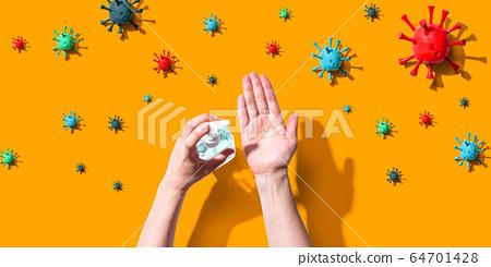 Applying sanitizer gel with epidemic influenza concept 64701428