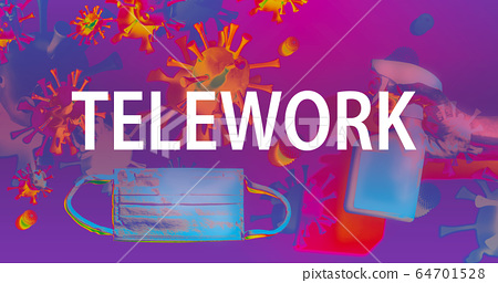 Telework theme with face mask and spray bottle 64701528