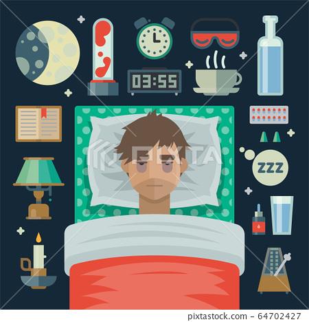 man with sleep insomnia problem 64702427