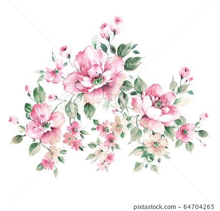 色彩豐富的花卉素材組合和設計元素 64704265