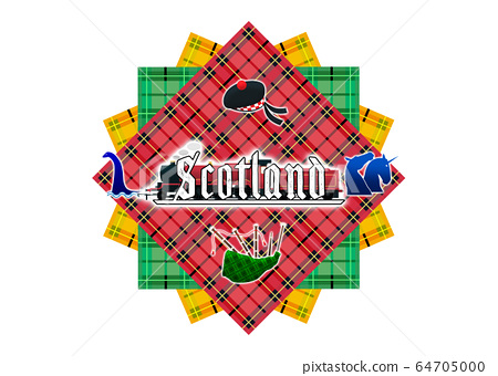 Logo of a pile of various colored Scott fabrics with a silhouette of Loch Ness Monster, The Kelpies sculpture with additional unicorn horn, Balmoral Bonnet, Bagpipes, and Steam Train 64705000