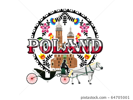 Logo of a Horse Carriage in front of a picture of Krakow St Mary's Church in Wycinanki Polish Folk Art  64705001