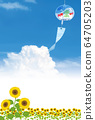 Hot summer greeting card background material 64705203