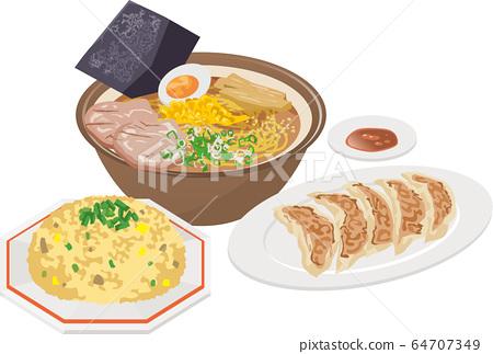 拉麵,餃子和炒飯的圖像插圖 64707349